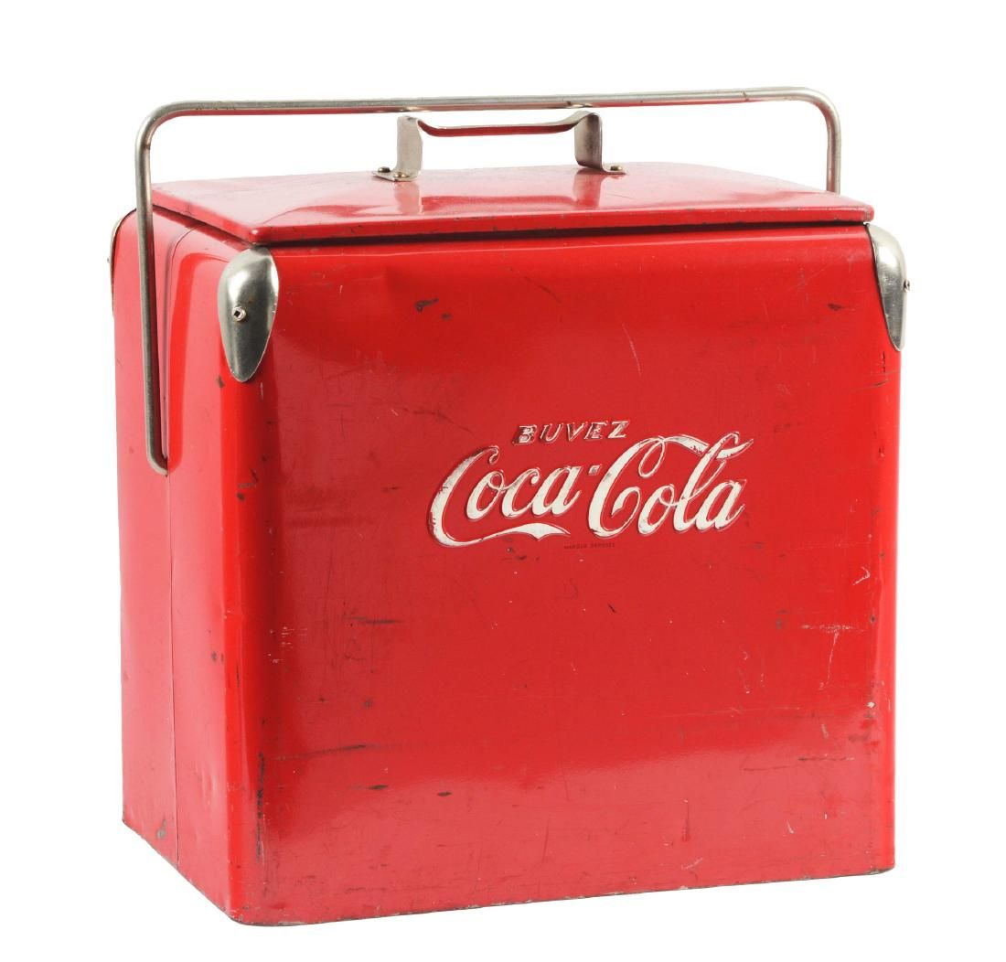 Coca-Cola Metal Carrying Cooler with Embossed