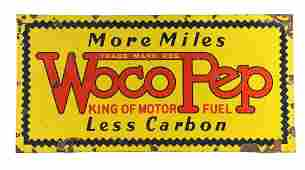 Pure Woco Pep Gasoline Porcelain Sign.