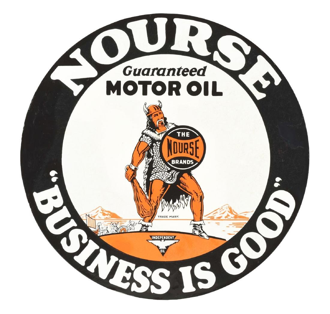 Nourse Motor Oils Porcelain Curb Sign with Viking