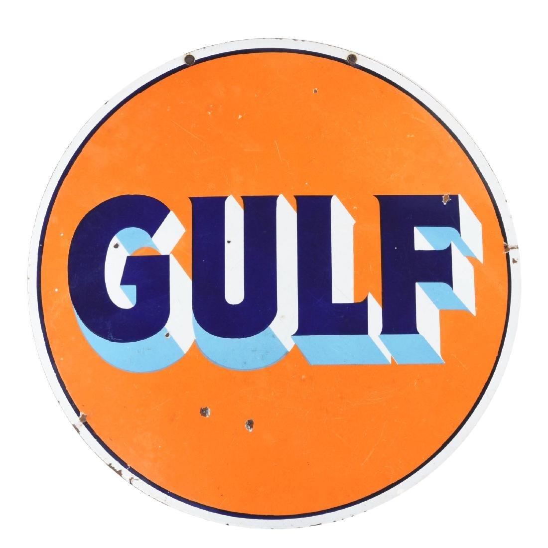 Gulf Gasoline Porcelain Curb Sign.
