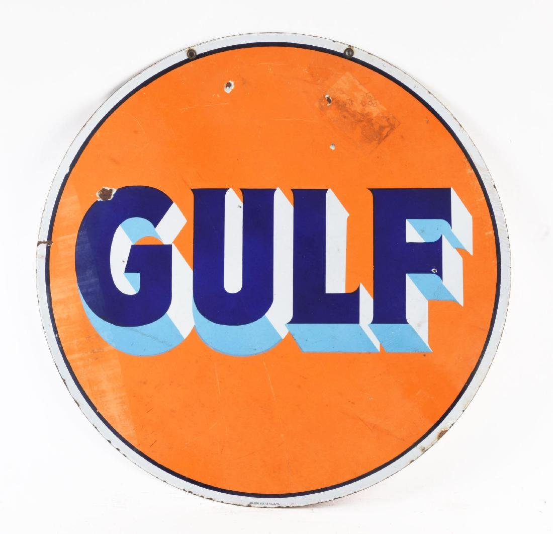 Gulf Gasoline Porcelain Curb Sign. - 2