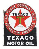 Texaco Motor Oil Porcelain Flange Sign
