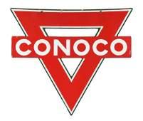 Conoco Gasoline Diecut Porcelain Sign.