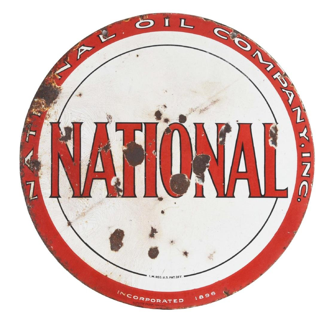National Oil Company Porcelain Curb Sign.