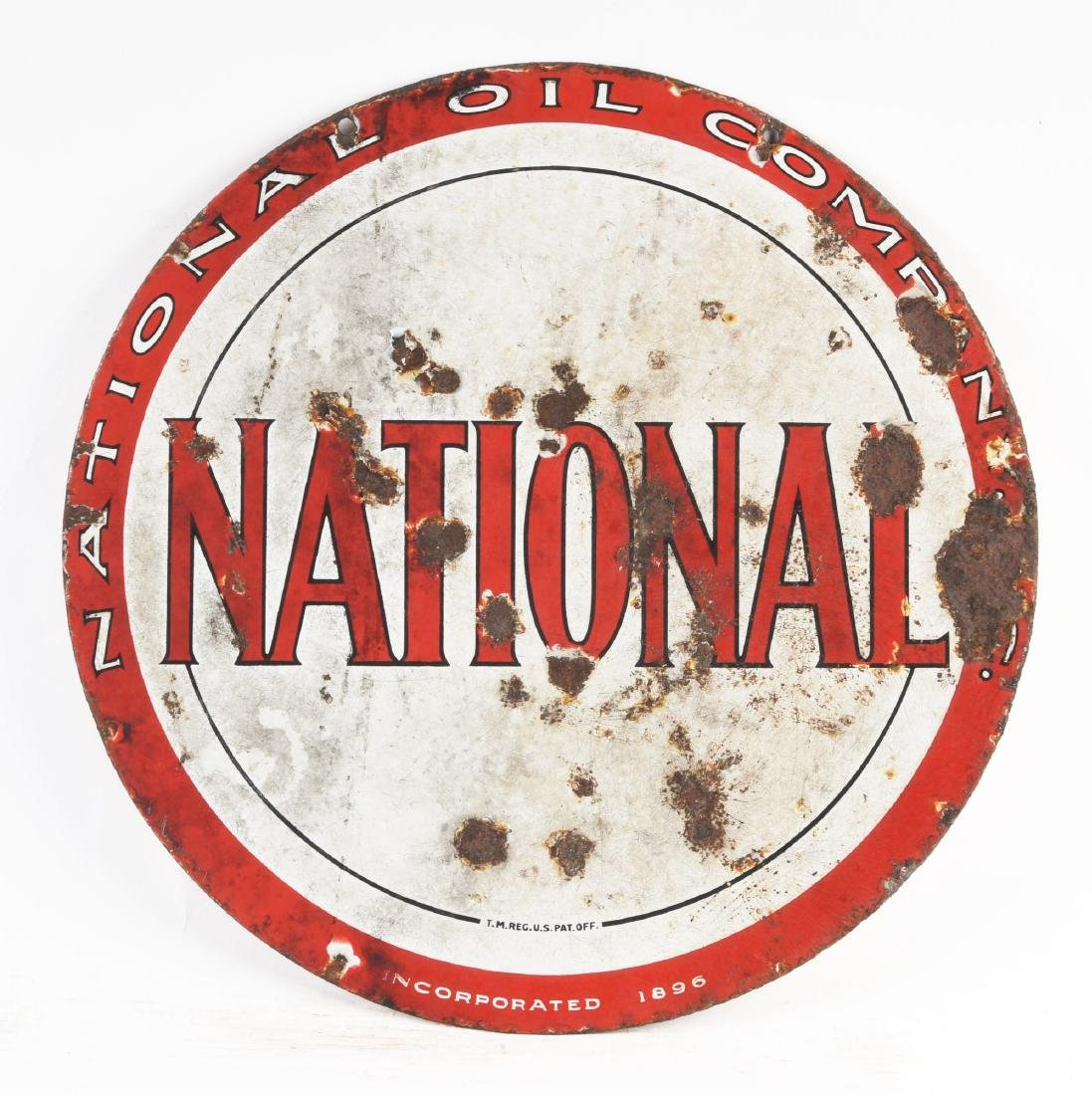 National Oil Company Porcelain Curb Sign. - 3