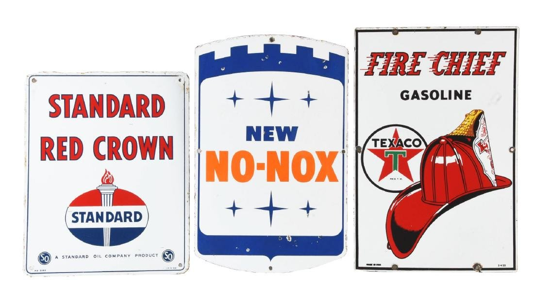 Lot Of 3: Texaco Gulf & Standard Porcelain Gasoline