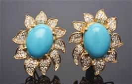 18K Yellow Gold Turquoise & Diamond Earrings.