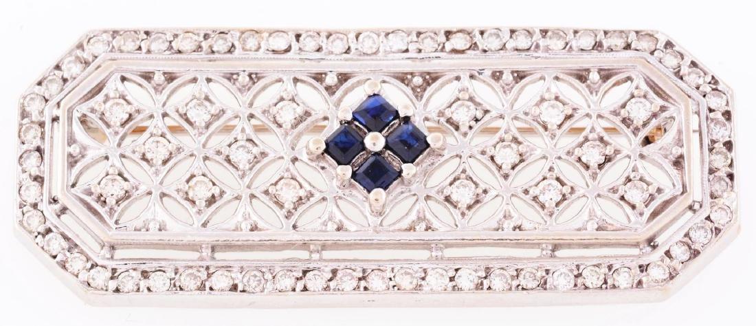 14K White Gold, Diamond & Sapphire Brooch.