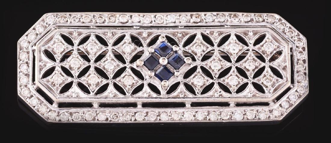14K White Gold, Diamond & Sapphire Brooch. - 3