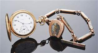 Elgin Gold Filled HC Pocket Watch wGold Quartz Chain