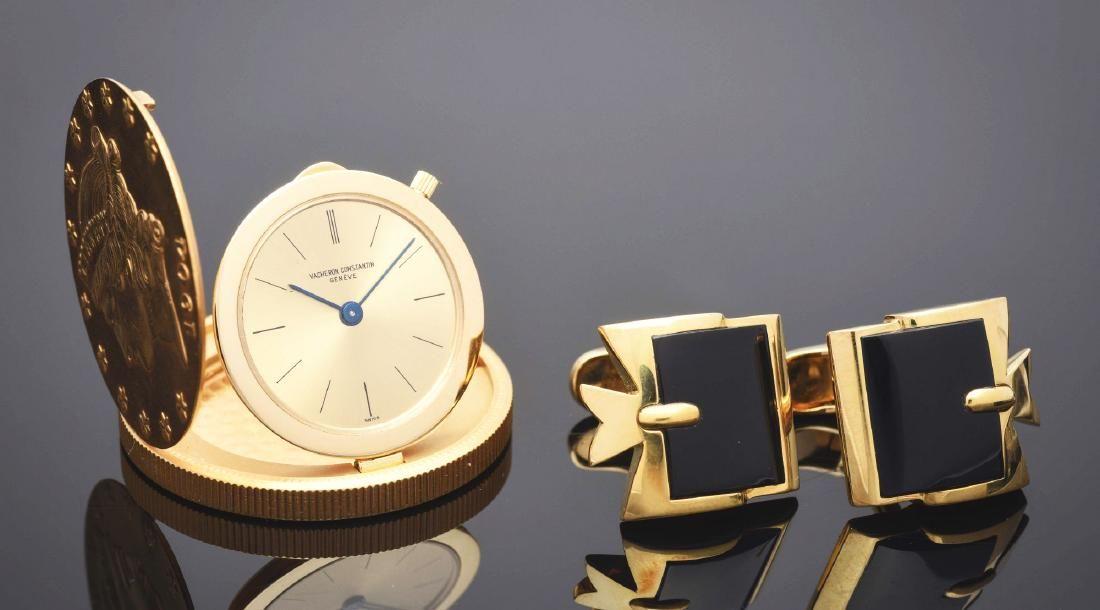 Vacheron Constantin $20 Gold Coin Watch & Onyx Cuff
