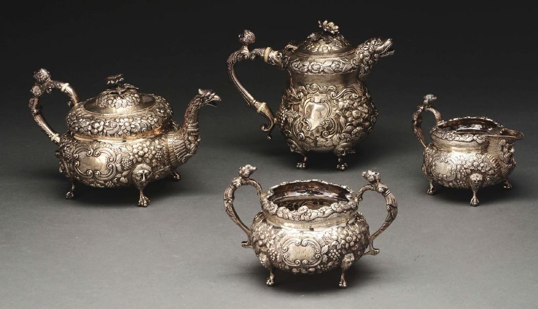 Irish Silver Assembled Four Piece Tea  Set.