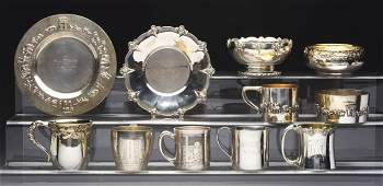 A Group Of American Sterling Child's Mugs And Bowls.