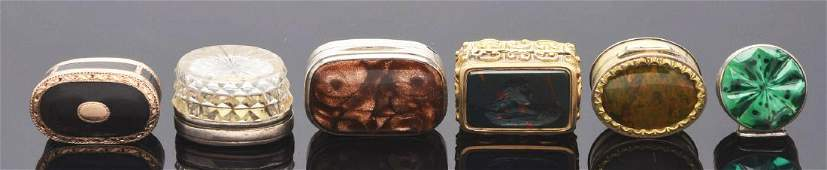 Lot of 6 Antique Vinaigrettes with Stone  Glass Lids