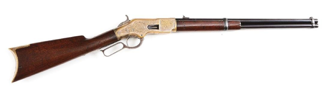 (A) Winchester Model 1866 Saddle Ring Carbine (1872).