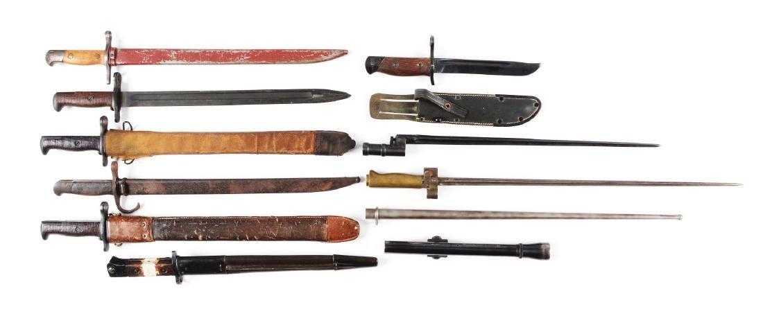 Lot of 10: Assorted Bayonets & Alaskan Scope.