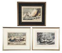 Lot Of 3 Currier  Ives Winter  Whaling Lithographs