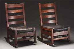 Lot of 2 Pair of Early Gustav Stickley HipRail