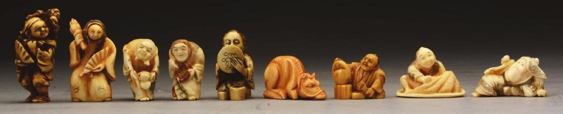 Lot Of 9: Japanese Carved Netsuke Figures.