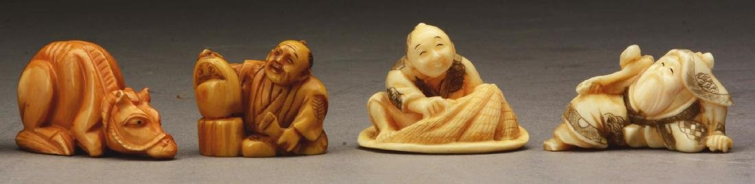 Lot Of 9: Japanese Carved Netsuke Figures. - 3