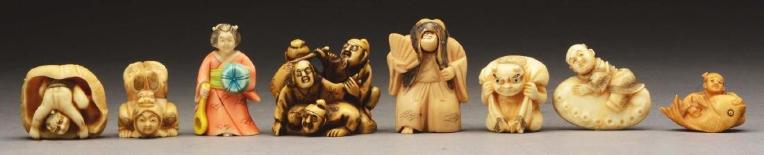 Lot Of 8: Japanese Caved Netsuke Figures.