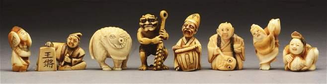 Lot Of 8 Japanese Carved Netsuke Figures