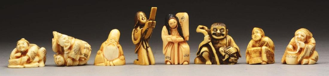 Lot Of 8: Japanese Carved Netsuke Figures.