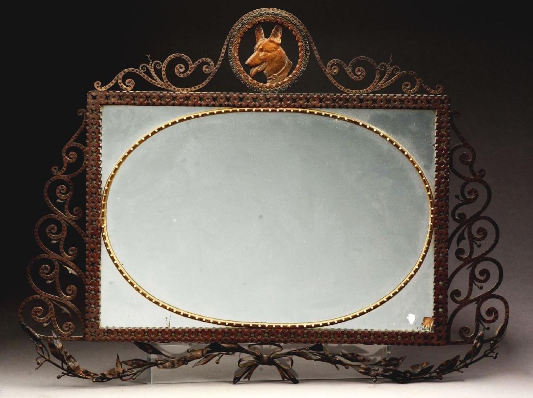 Art Deco Iron & Bronze Mirror.