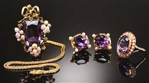 Lot Of 3 14k Amethyst  Pearl Earrings Ring