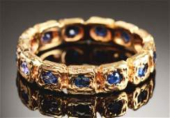 14k Gold Tiffany & Co. Sapphire Eternity Band In Box.