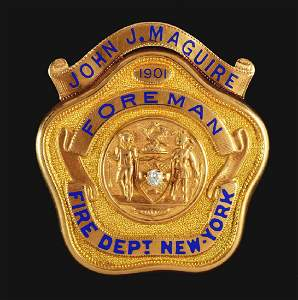 Early FDNY 14K Gold Foreman's Badge.