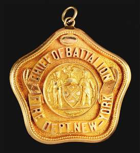 FDNY Chief Of Battalion's Presentation 14K Gold Badge.