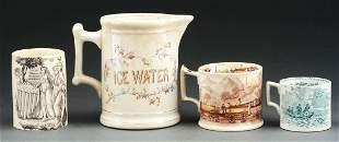 Group Of 4 Three Transferware Mugs  Ice Water