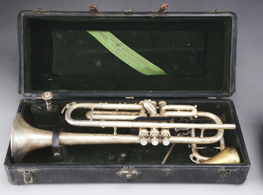 Group of 2: Brass Musical Horn Instruments. - 2