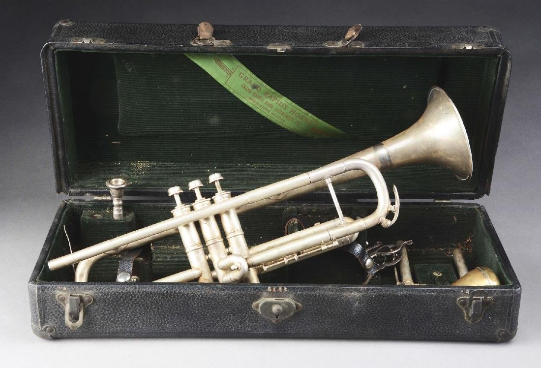 Group of 2: Brass Musical Horn Instruments. - 4