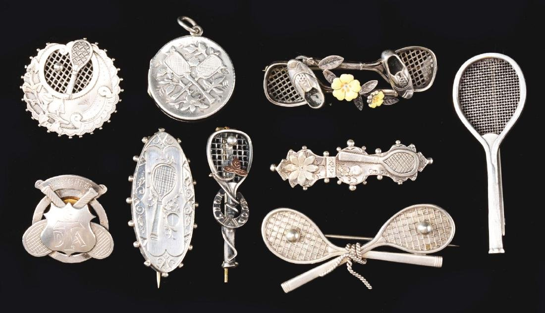 Lot of 9: Antique Sterling Silver Tennis Pins & Medals.