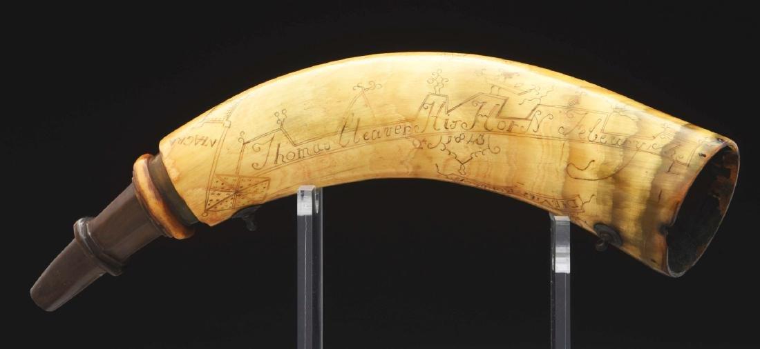 Thomas Cleaver's Engraved New York Map Powder Horn.