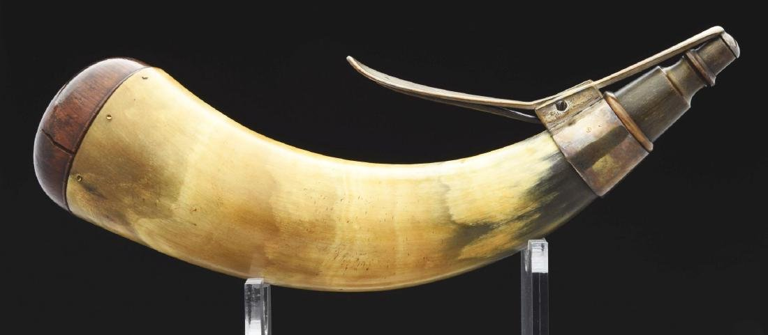 "Silver Mounted Powder Horn Hallmarked ""IM""."