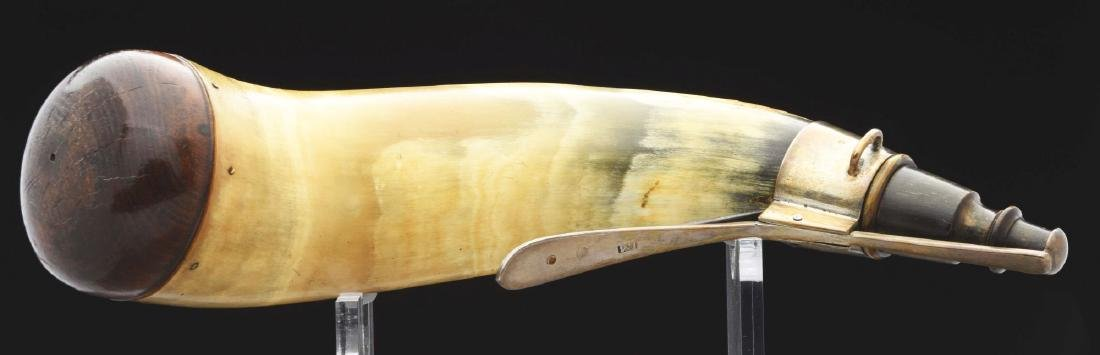 "Silver Mounted Powder Horn Hallmarked ""IM"". - 5"