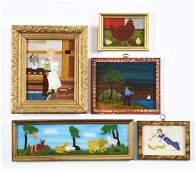 Lot of 5: Framed Reverse on Glass Folk Art Paintings by