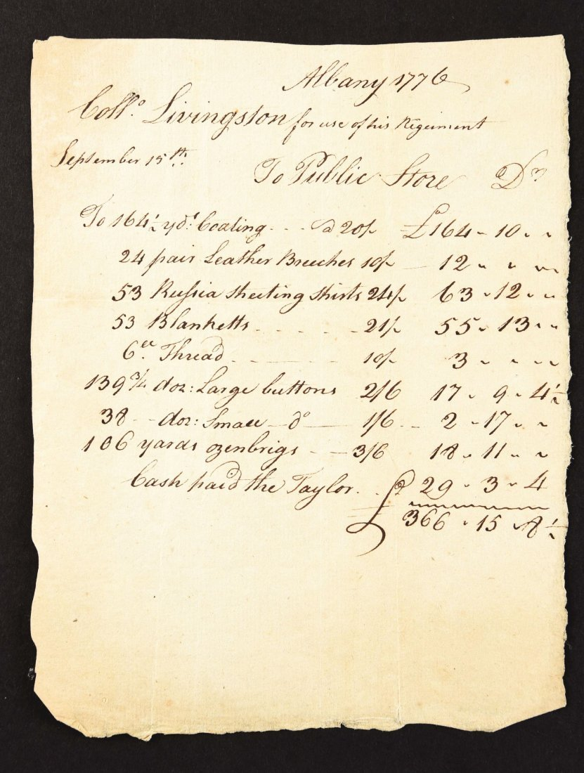 FOUR RECEIPTS FOR THE ISSUE OF SUPPLIES TO LIVINGSTON'S - 2
