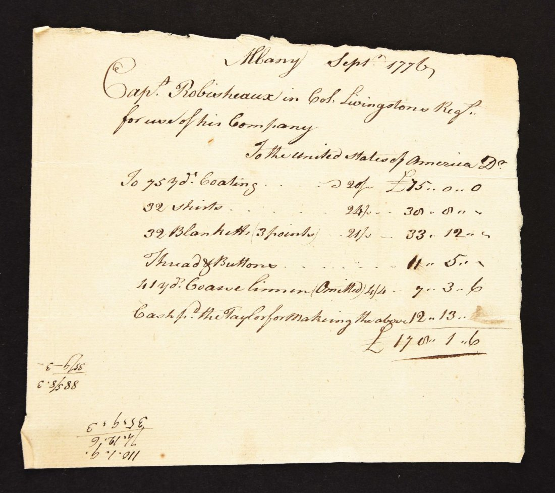 FOUR RECEIPTS FOR THE ISSUE OF SUPPLIES TO LIVINGSTON'S - 4