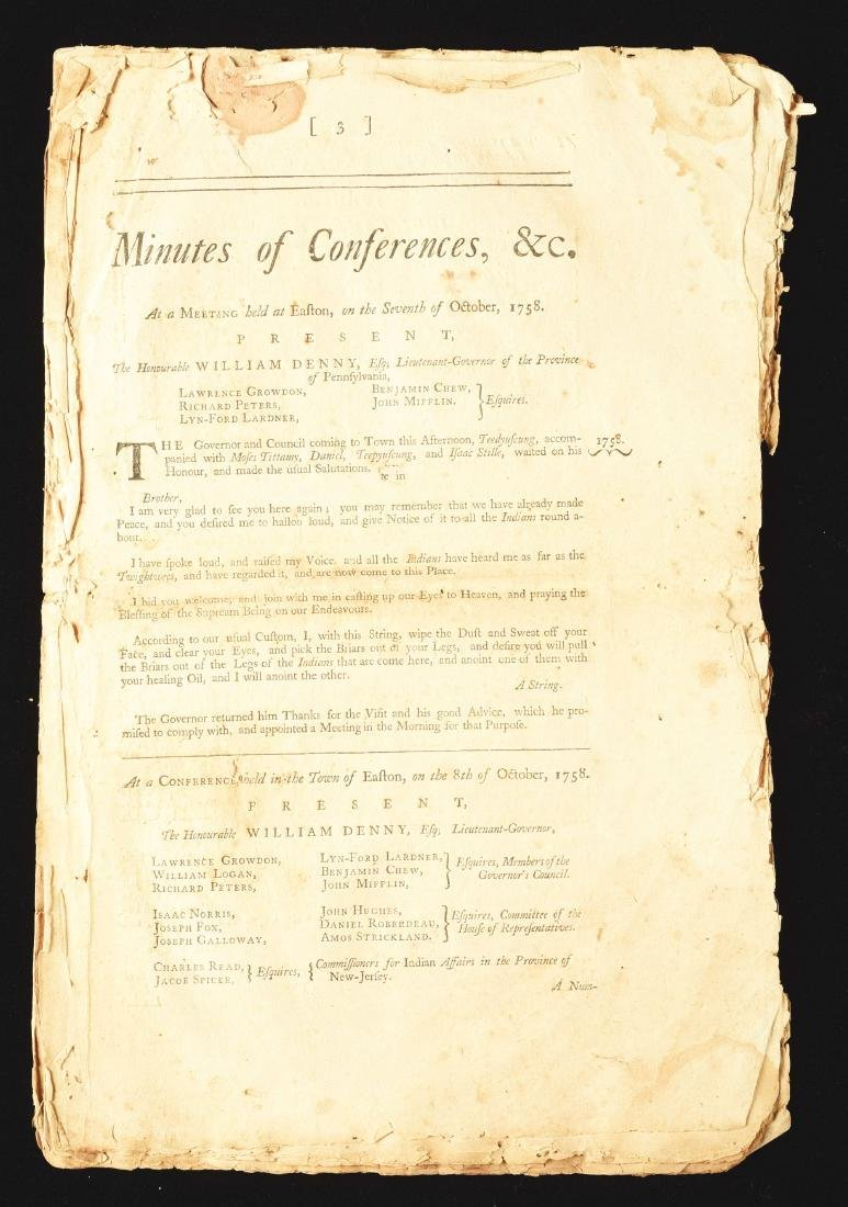 Minutes Of Easton Conference / Teedyuscung 1758.