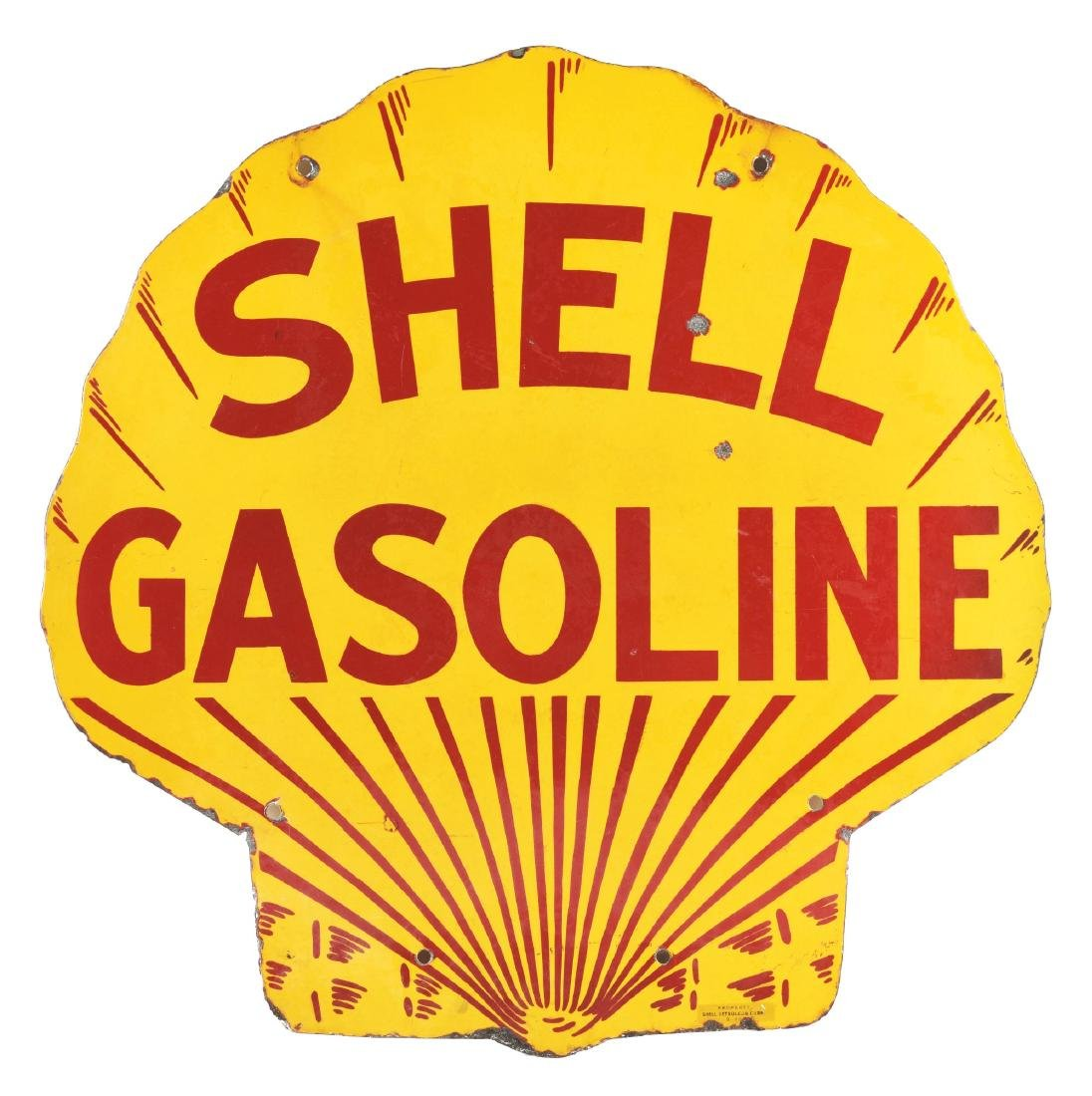 Shell Gasoline Porcelain Clamshell Shaped Curb Sign.