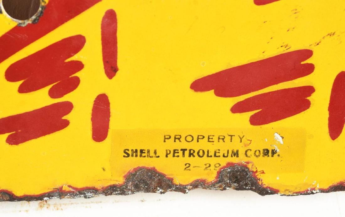 Shell Gasoline Porcelain Clamshell Shaped Curb Sign. - 2