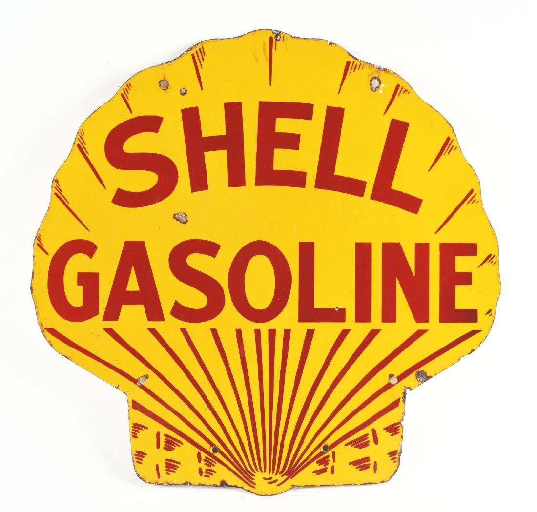 Shell Gasoline Porcelain Clamshell Shaped Curb Sign. - 3