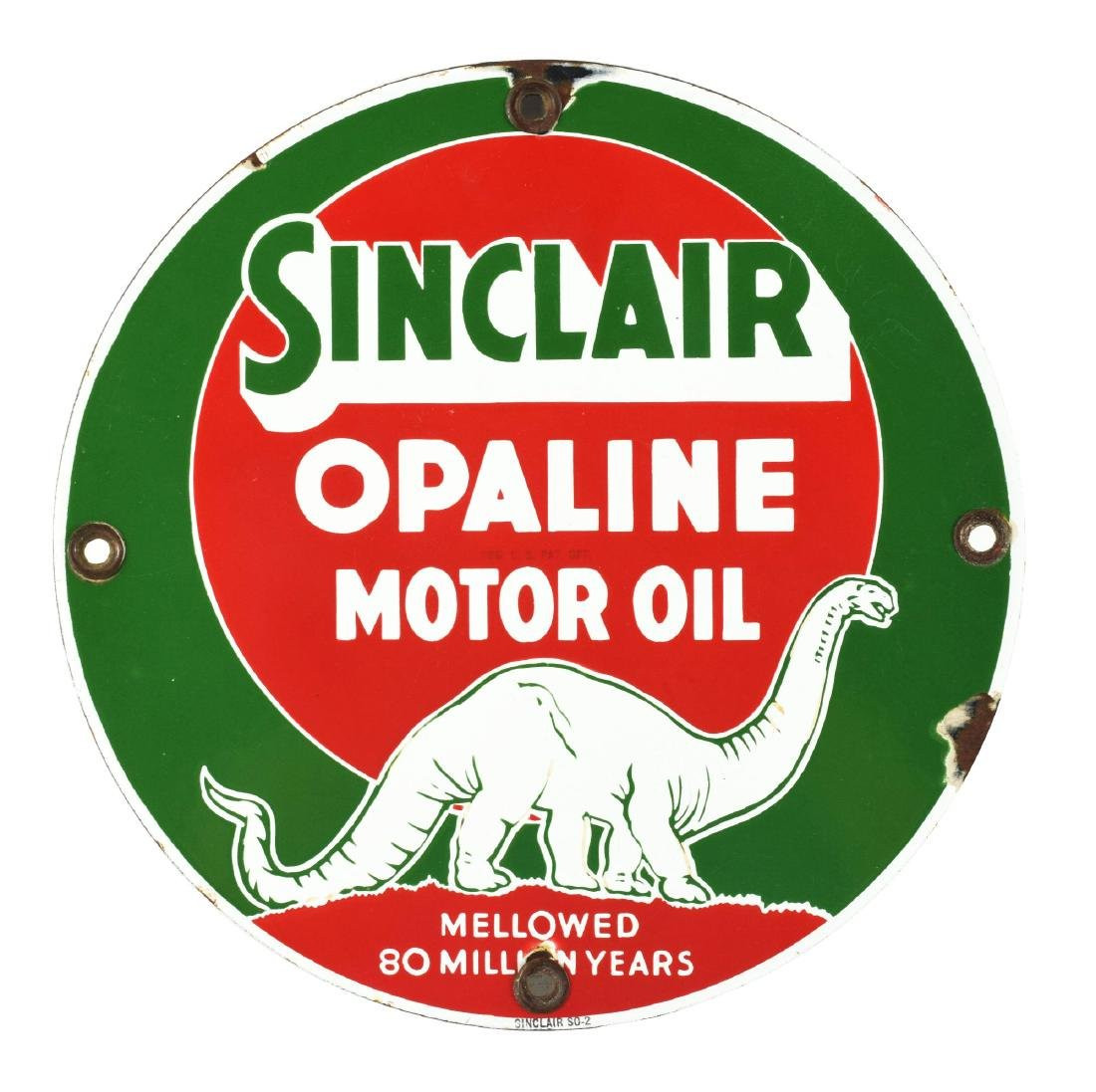 Sinclair Opaline Motor Oil Porcelain Sign with Dinosaur