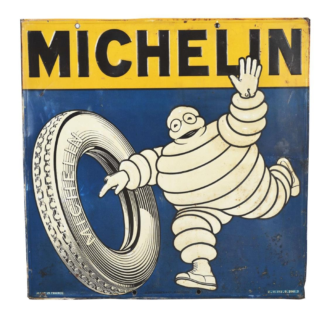 Michelin Tires Embossed Tin Sign with Bibendum & Tire