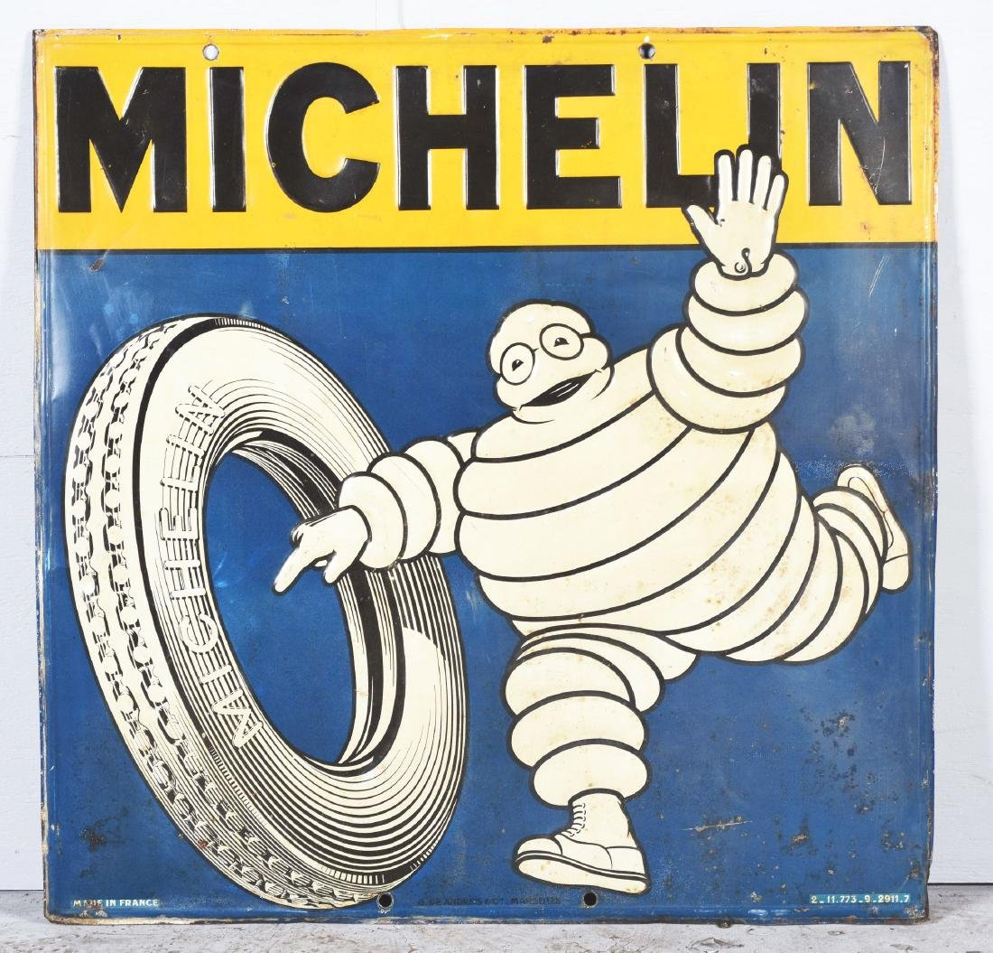 Michelin Tires Embossed Tin Sign with Bibendum & Tire - 2