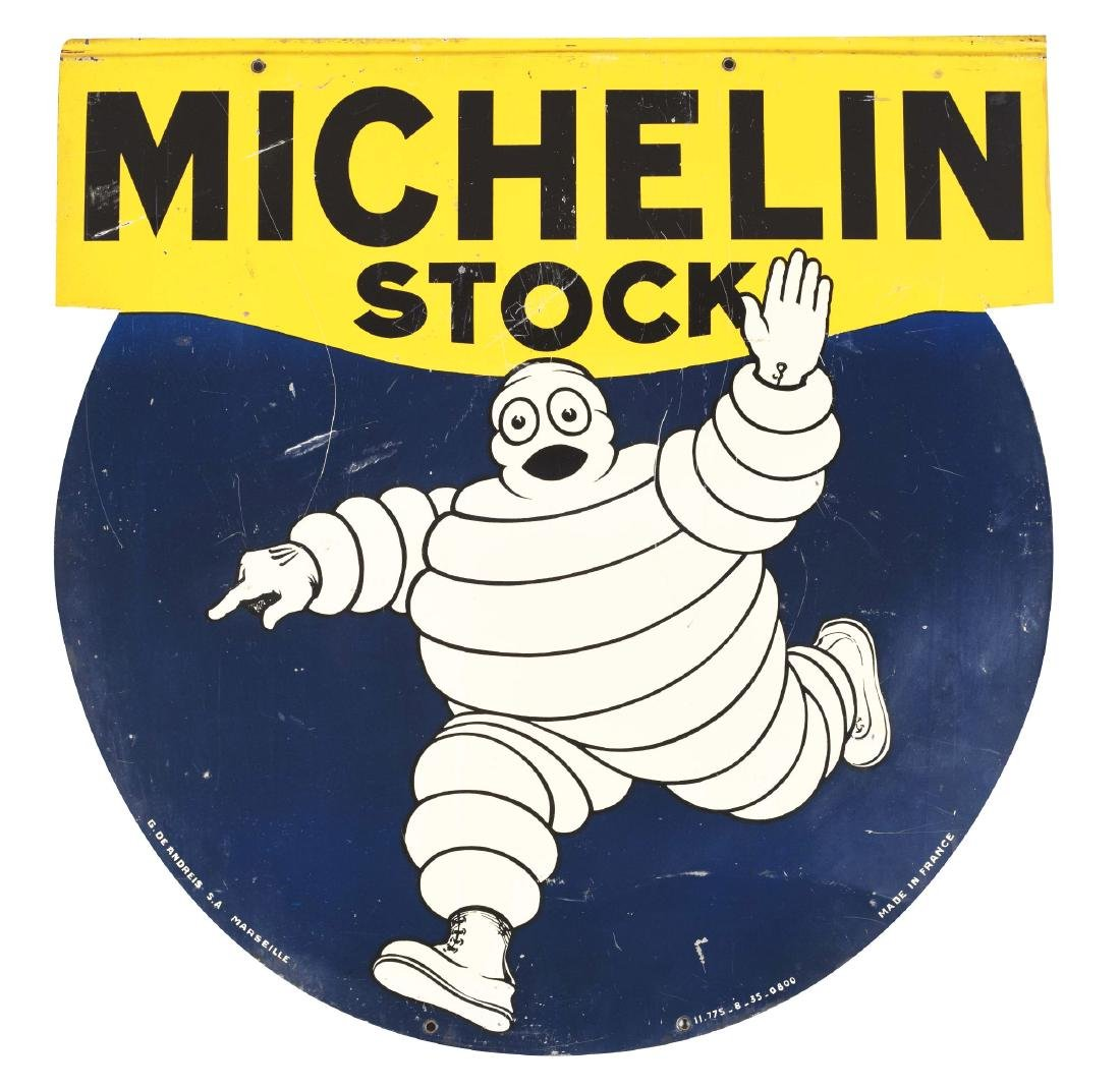 Michelin Stock Tires Die-Cut Tin Sign with Bibendum
